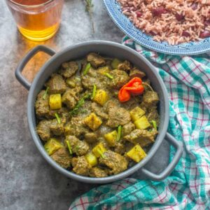 goat meat in a casserole pot