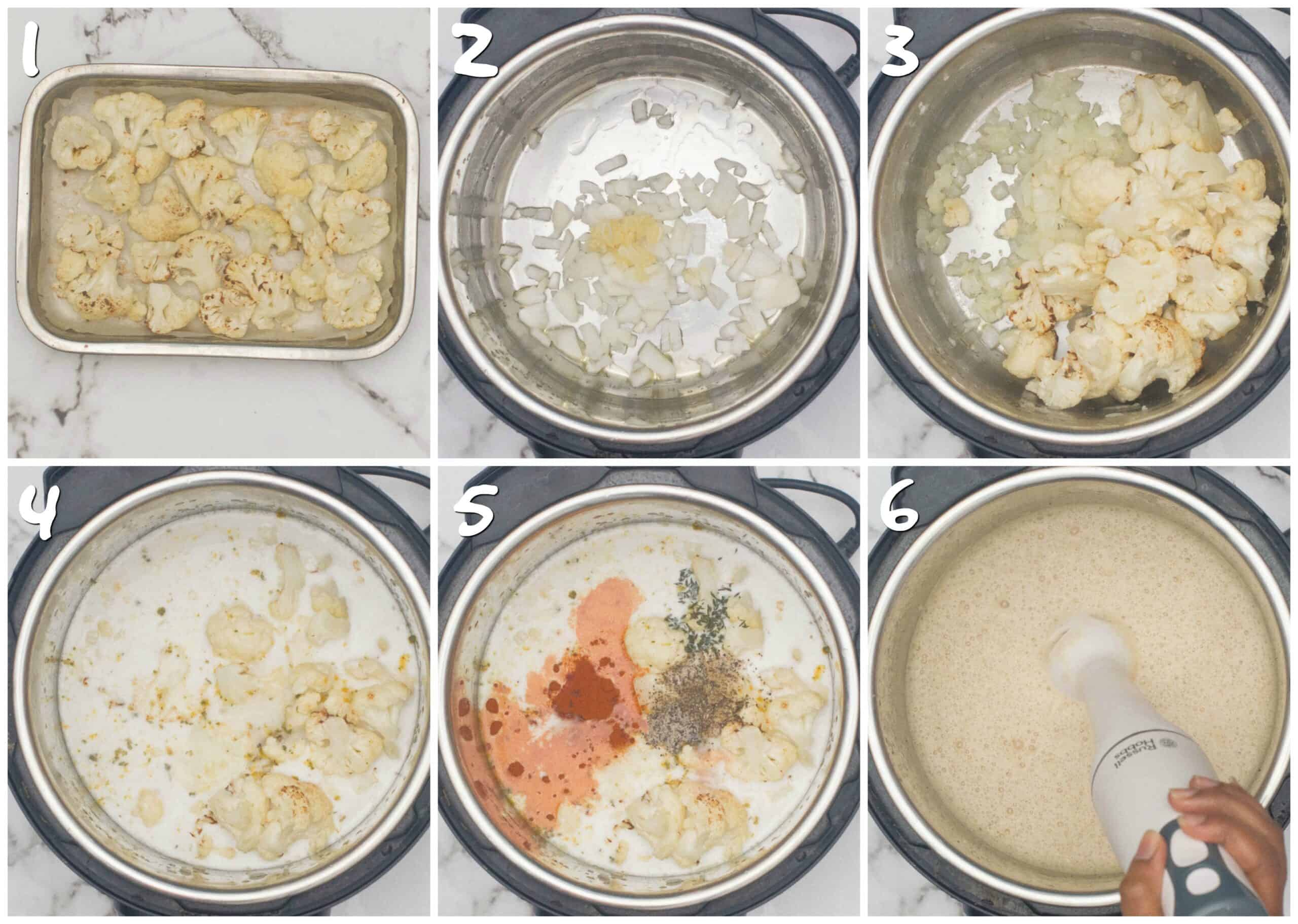steps 1-6 of roasting and pureeing the soup