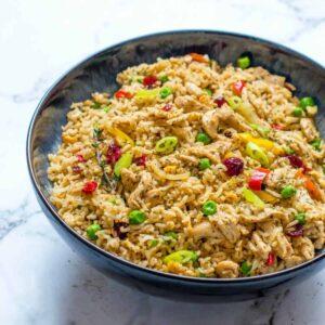 rice in a dark bowl