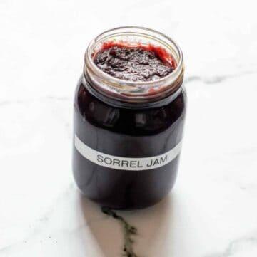 red jam in jar