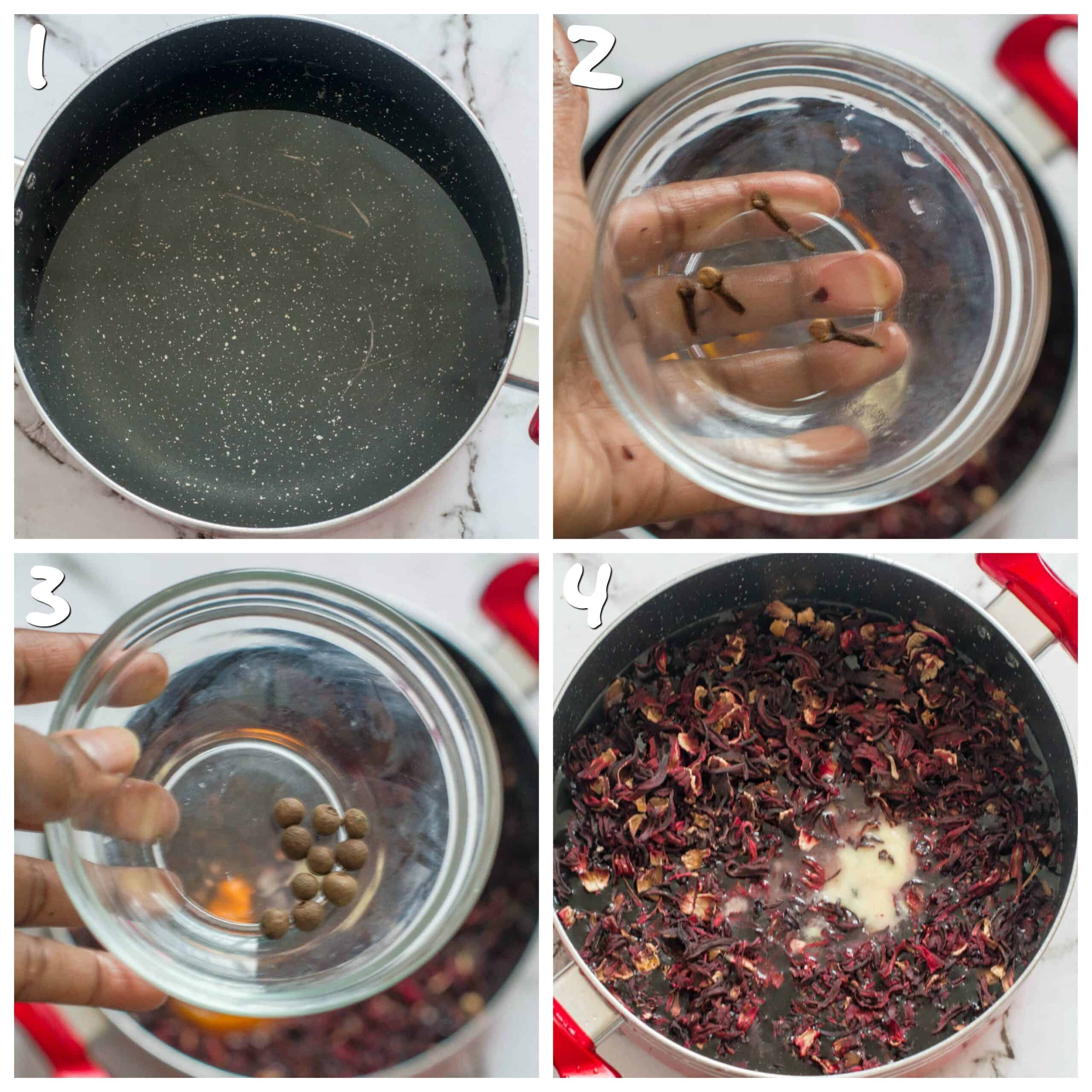 steps 1-4 adding the sorrel and spices
