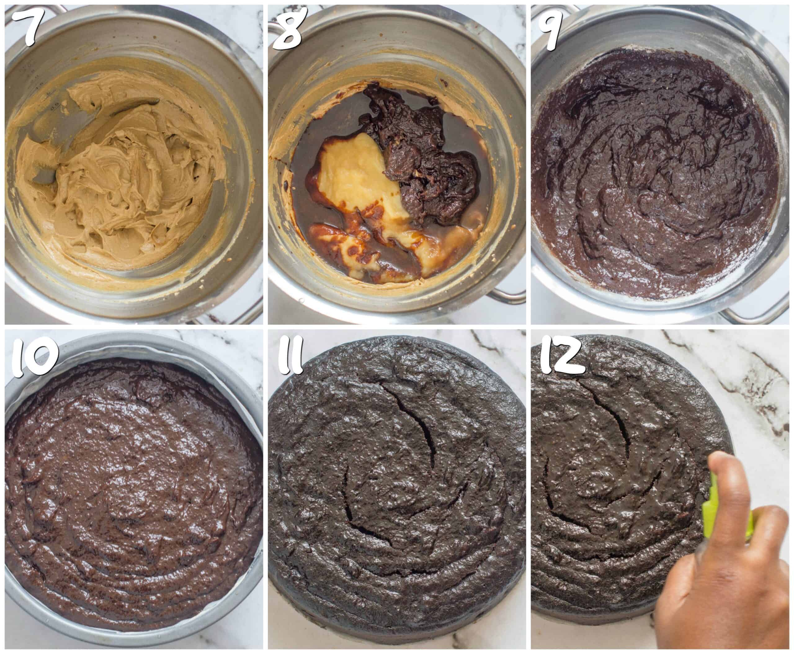steps 7-12 making the black cake