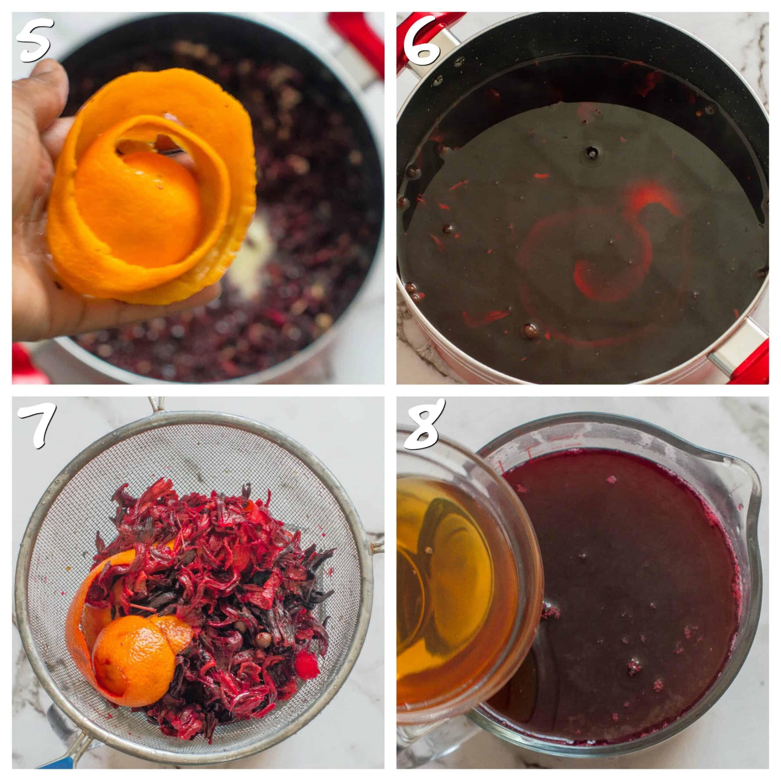 steps5-8 orange peel and steeping the sorrel