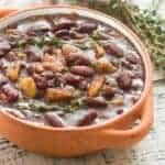 beans in an orange dish