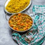 curry, rice and a teal cloth