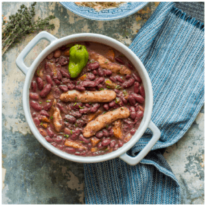stew peas in a casserole dish