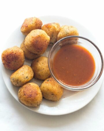 cheese balls in a white plate
