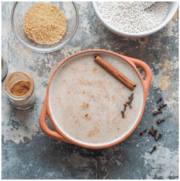 porridge in terracotta bowl