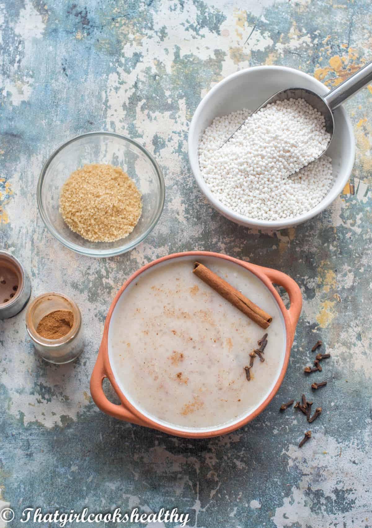 porridge in a terracotta bowl with garnish