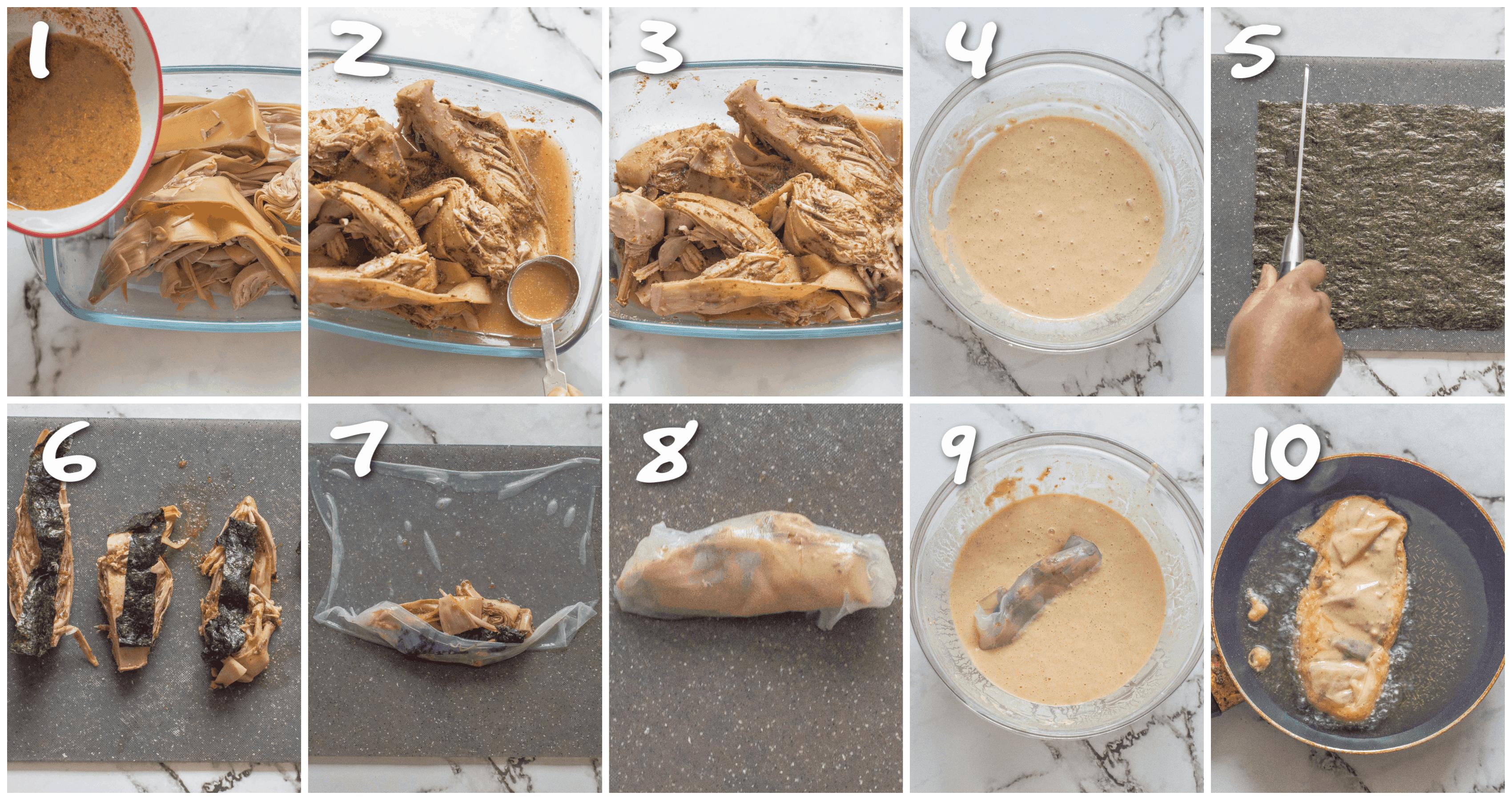 steps1-10 marinating the banana blossom and frying