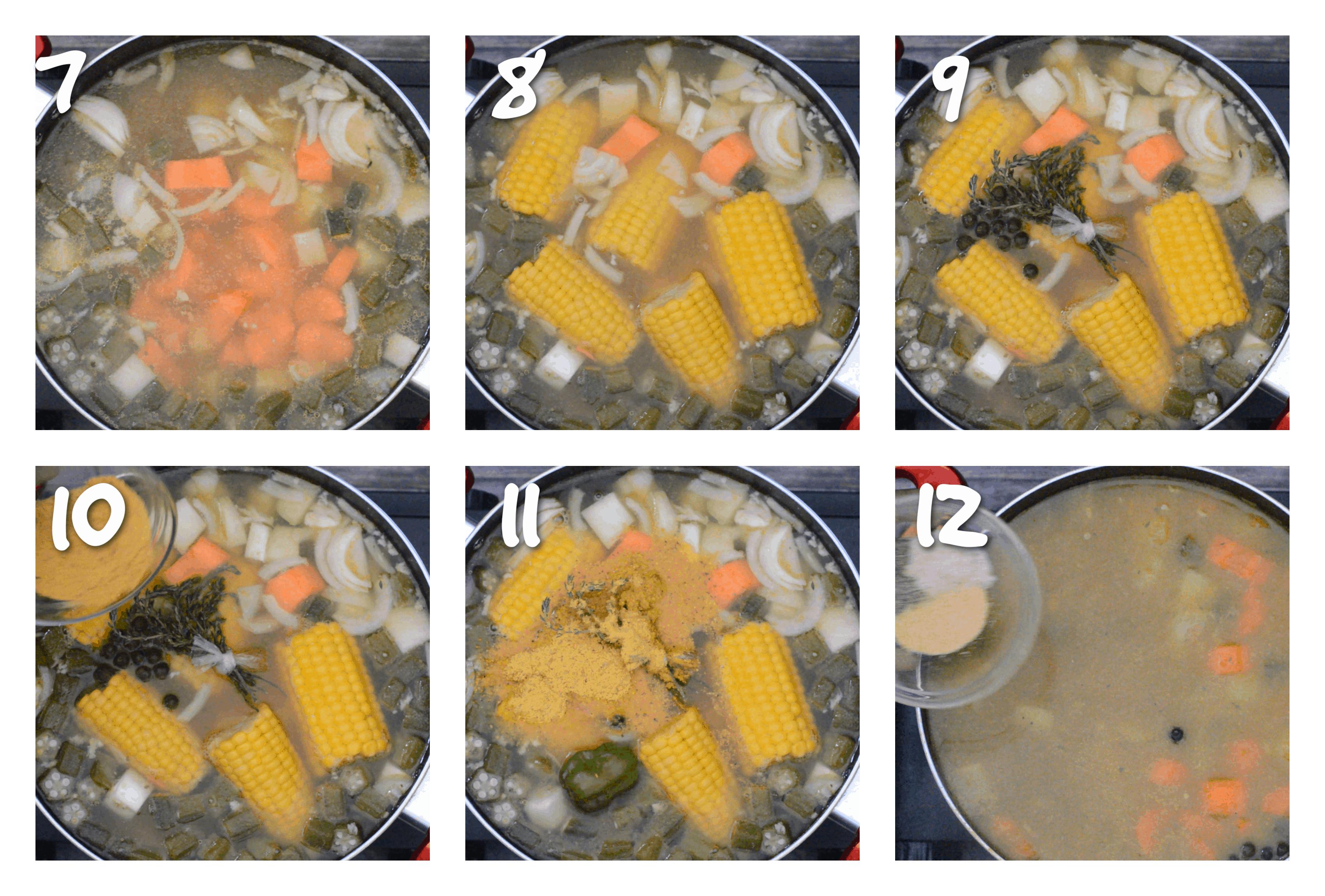 steps1-12 adding the vegetables