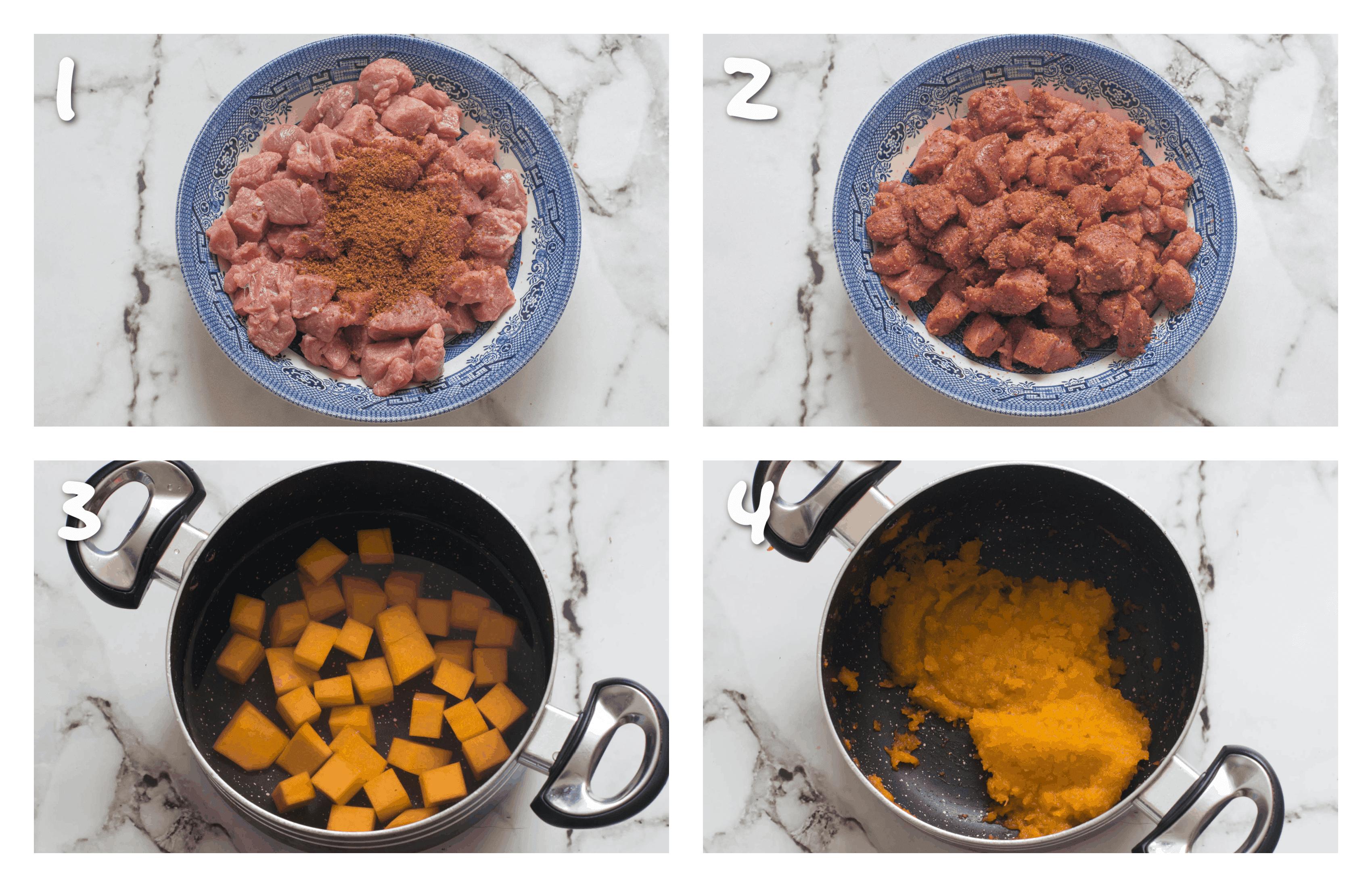 steps1-4 seasoning beef and boiling_mashing pumpkin