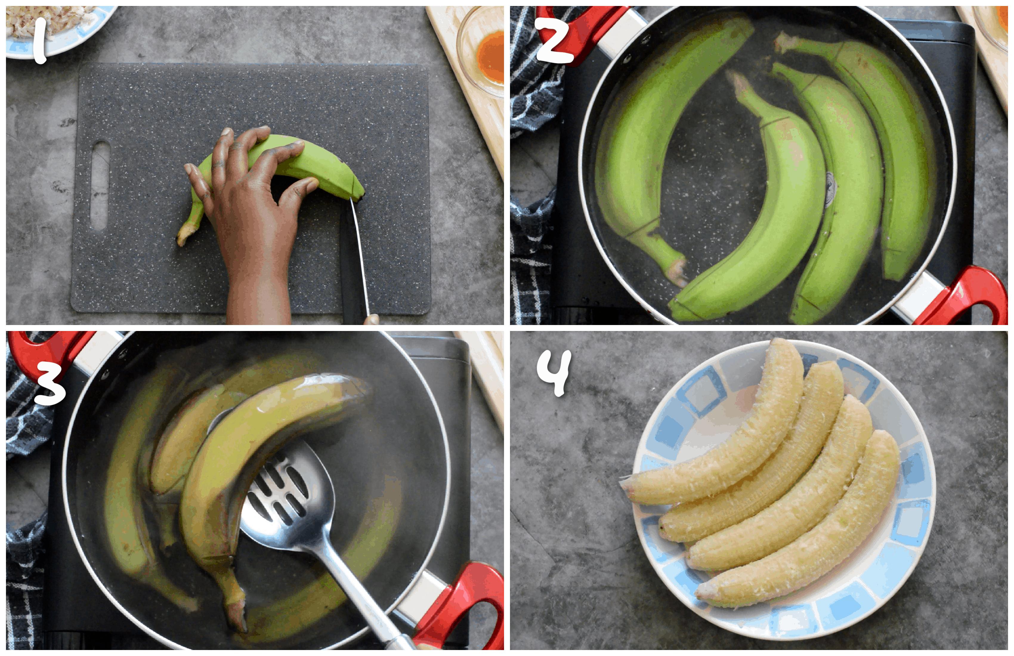 steps1-4 boiling the green fig (banana)