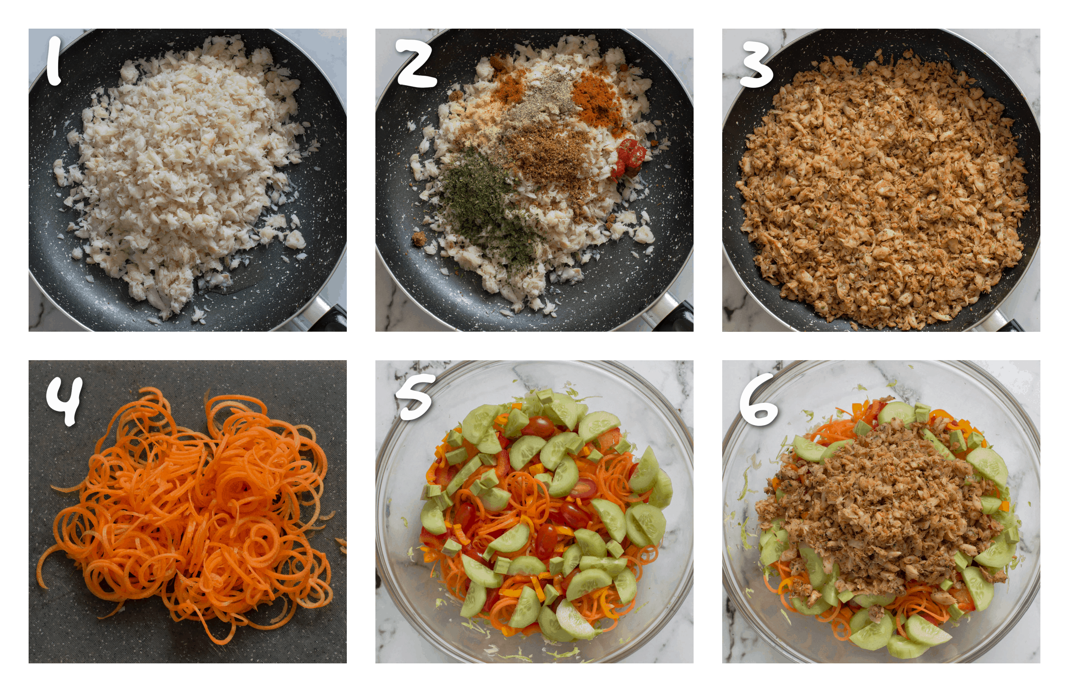 steps1-6 cooking the saltfish and preparing the salad