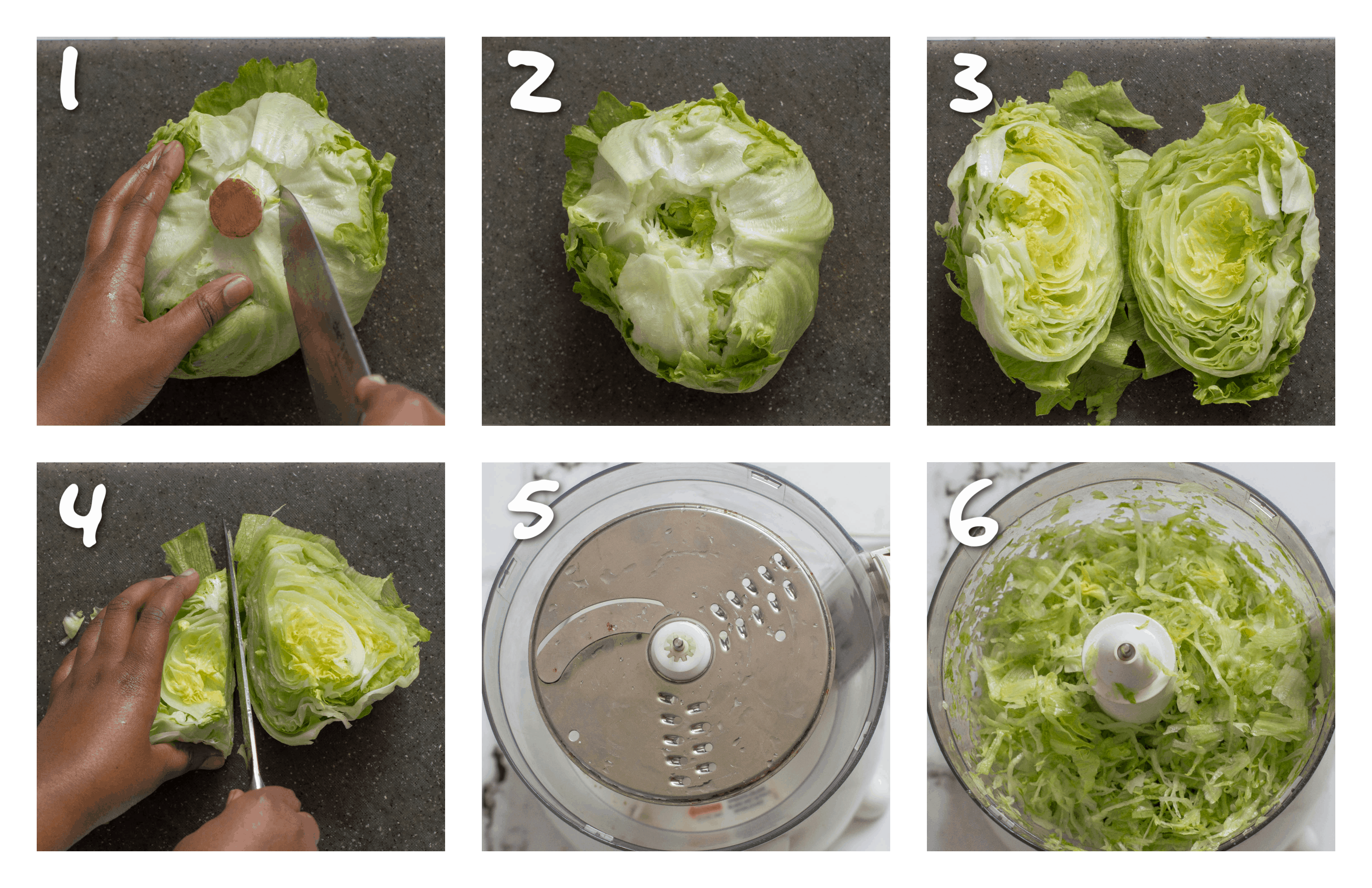 steps1-6 how to shred the lettuce