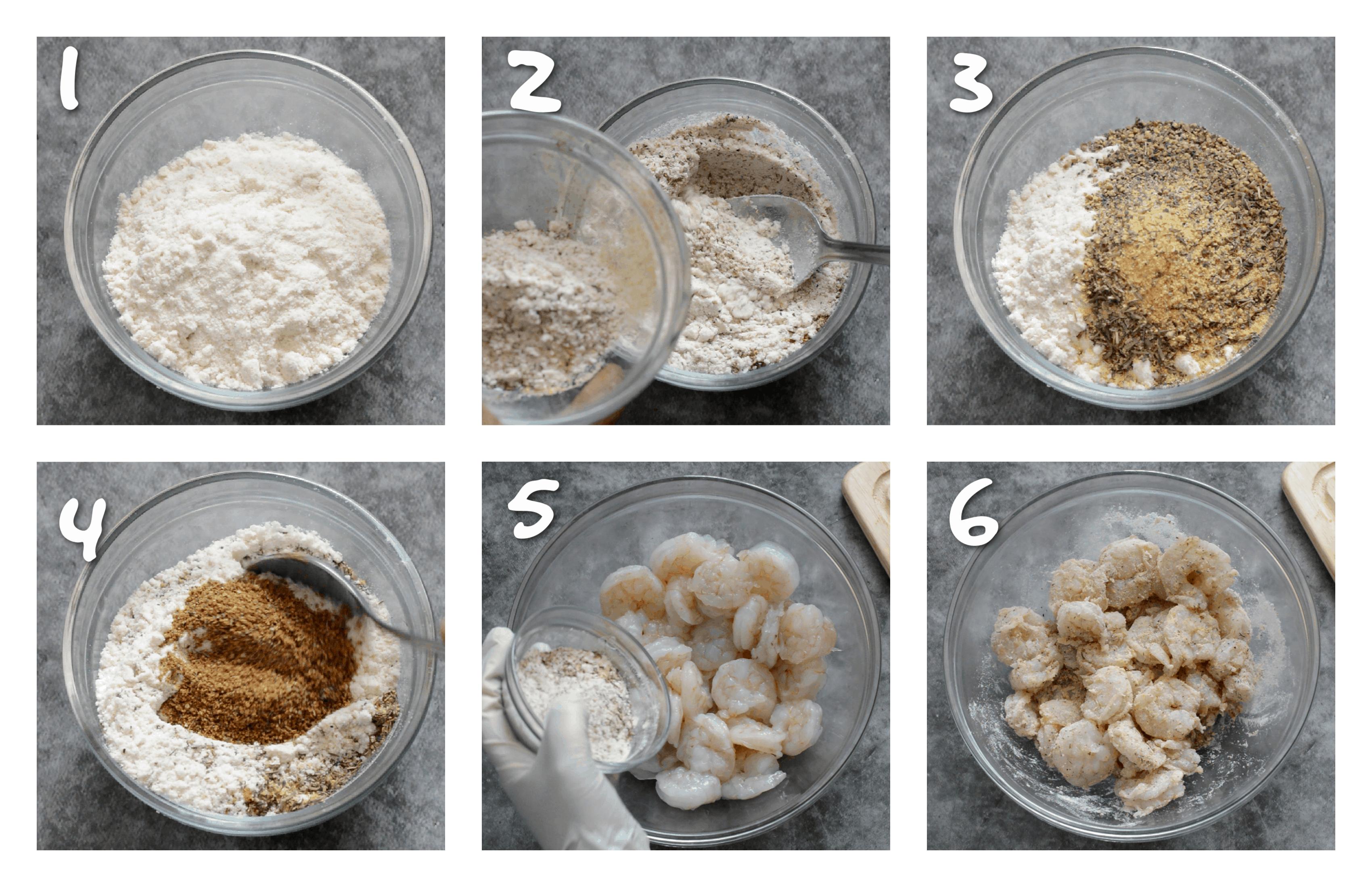 steps1-6 how to prepare the shrimp