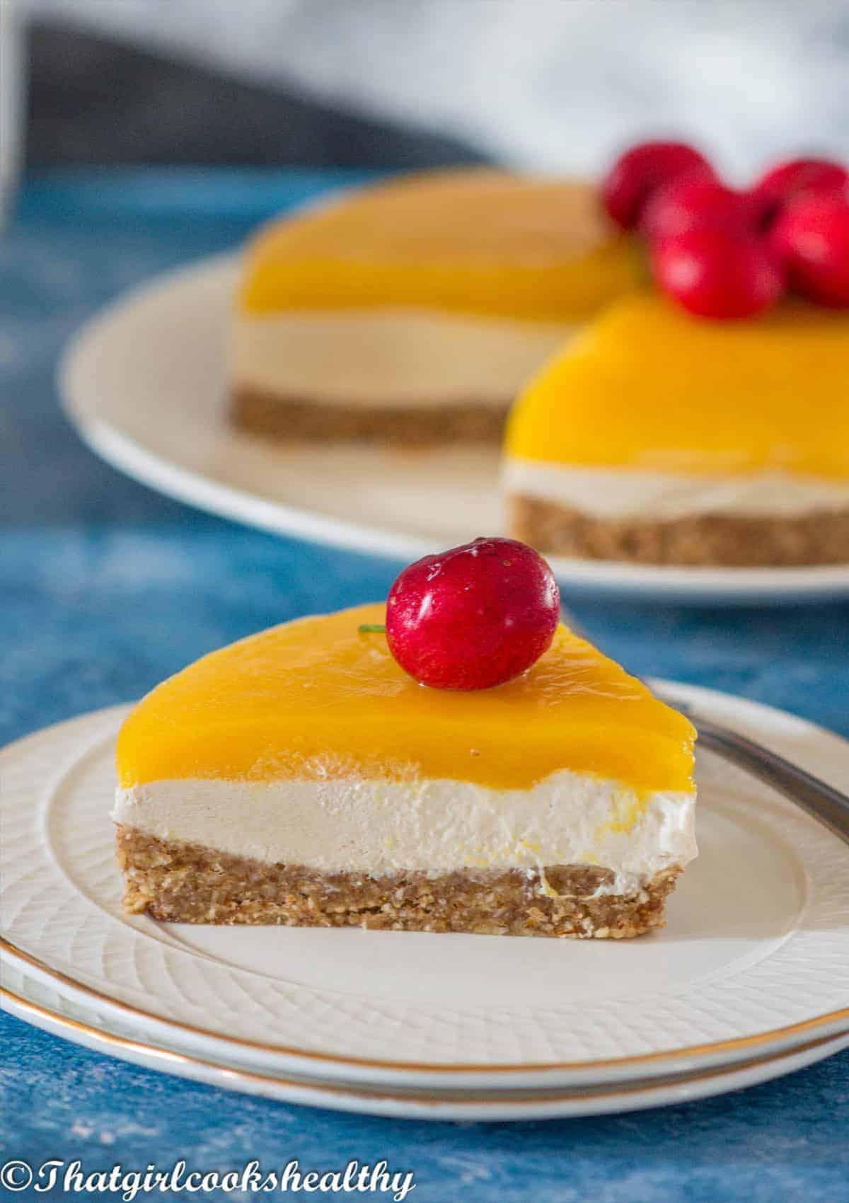 single slice of cheesecake