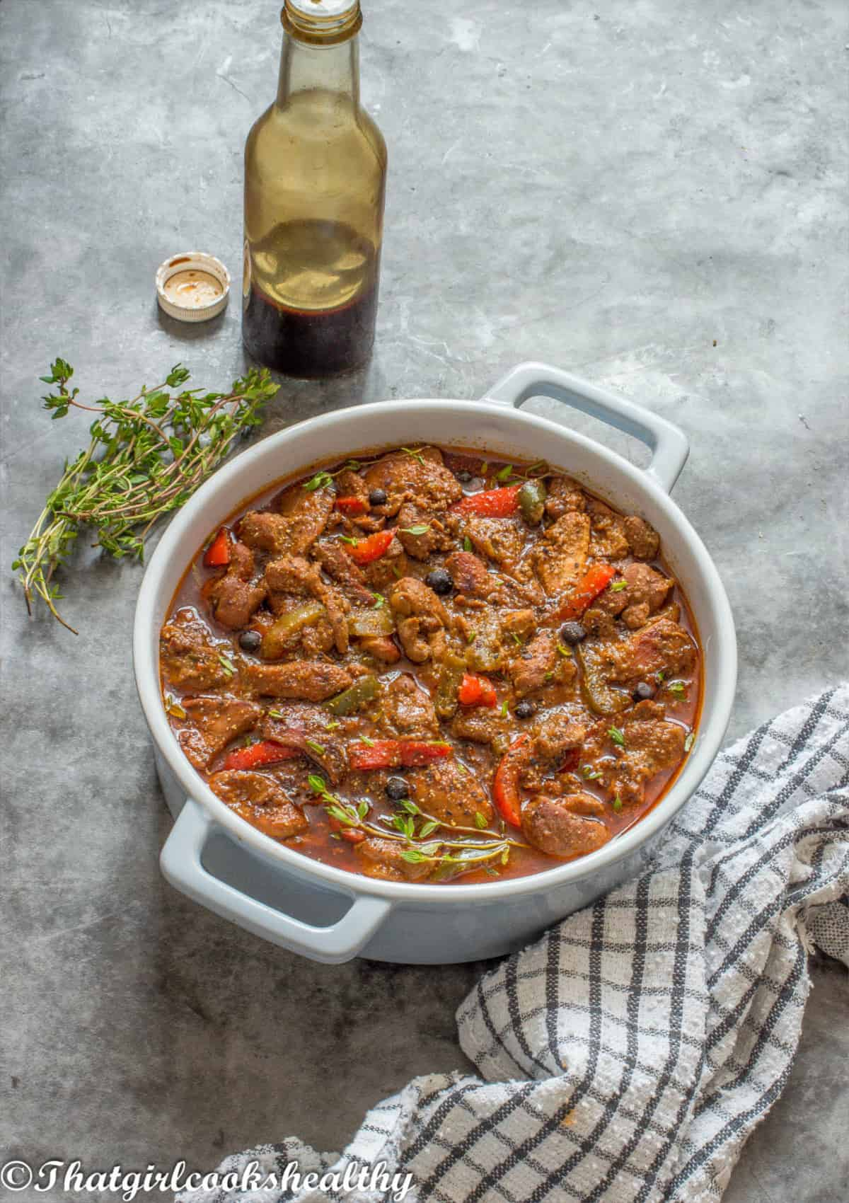 casserole dish with browning sauce