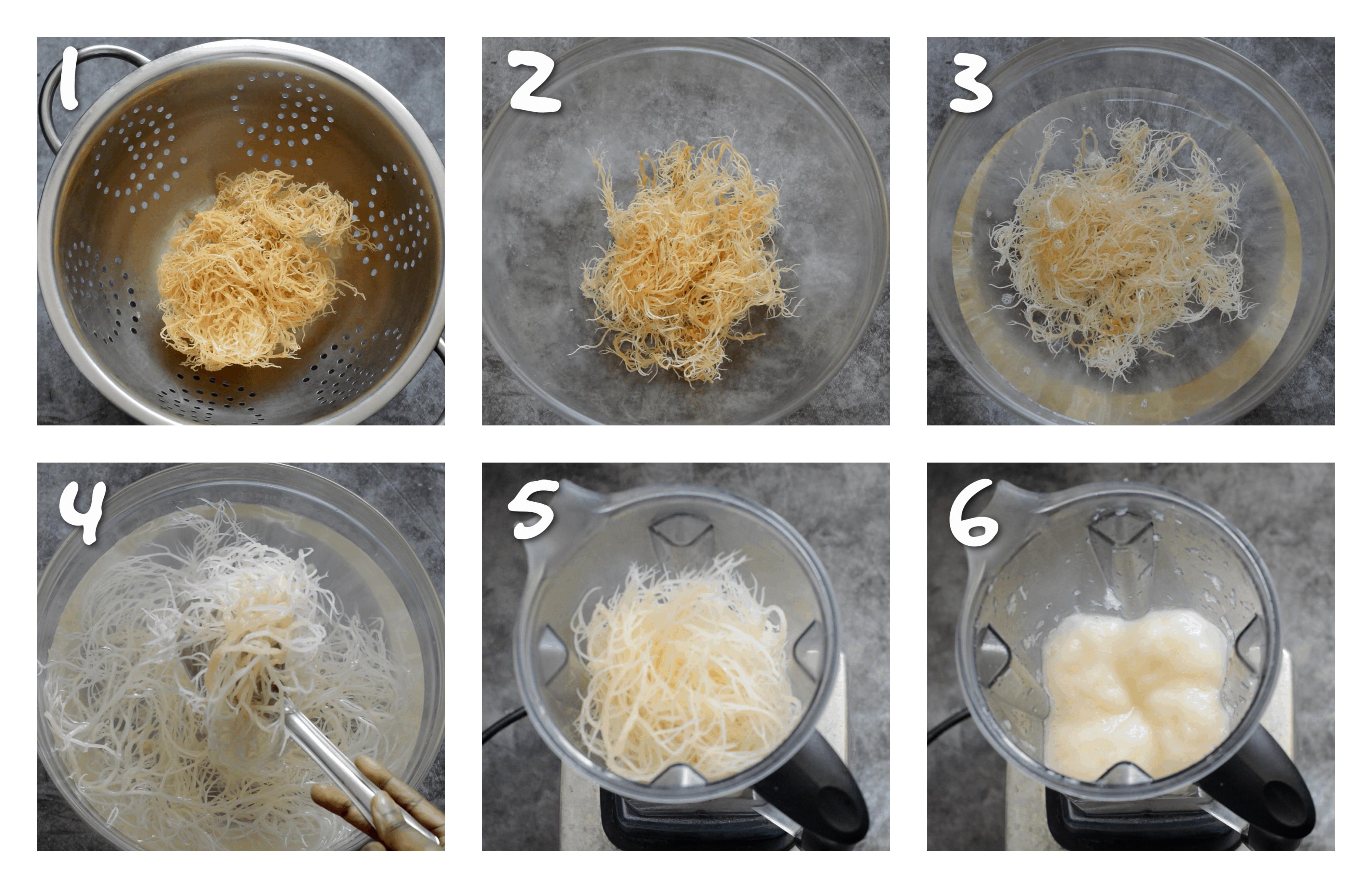 steps1-6 the process of making the sea moss gel