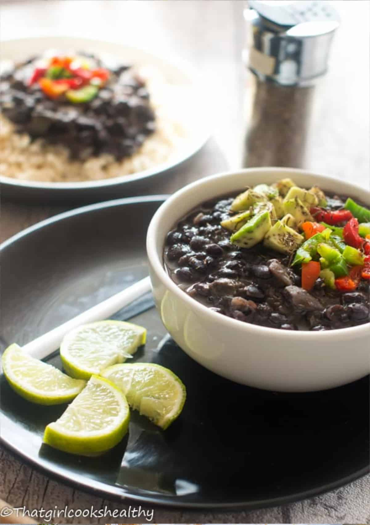 black beans with avocado topping