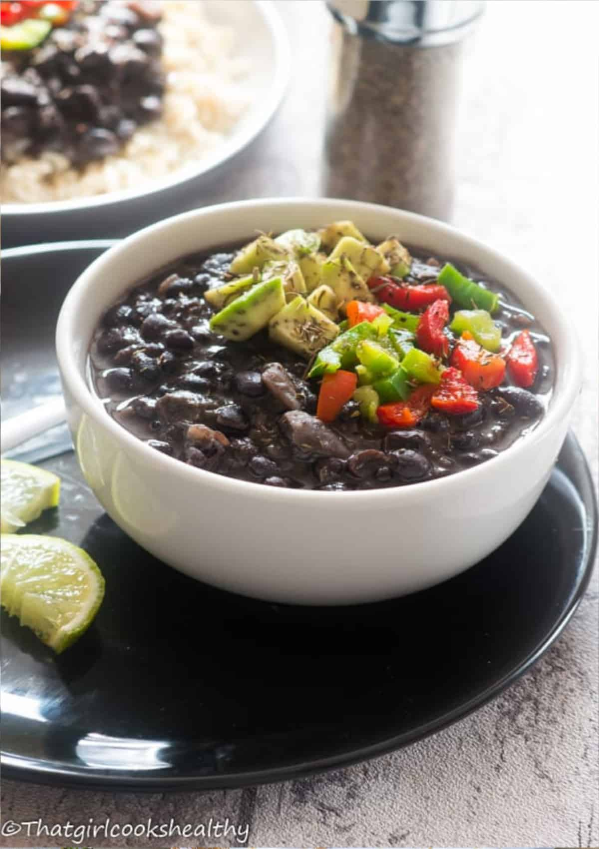 Black beans with a topping