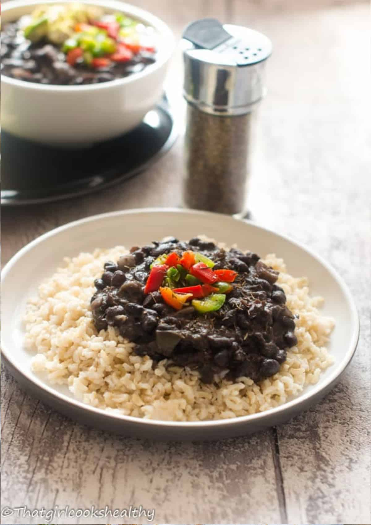 black beans on a bed of brown rice