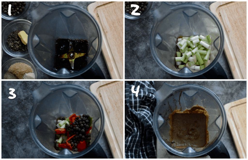 steps1-4 adding the ingredients to the blender and pureeing the paste)
