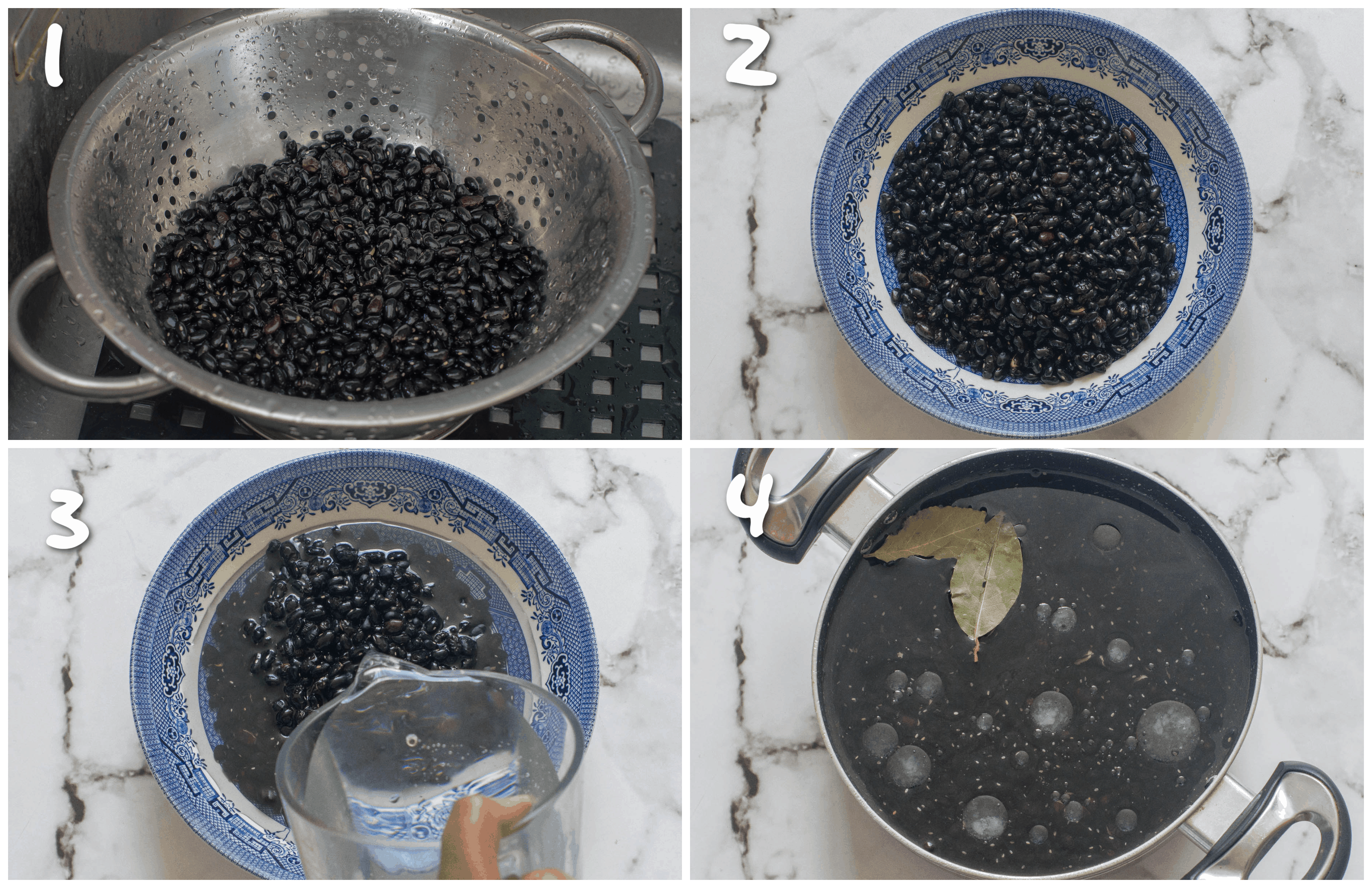 steps1-4 rinsing the black beans and boiling them
