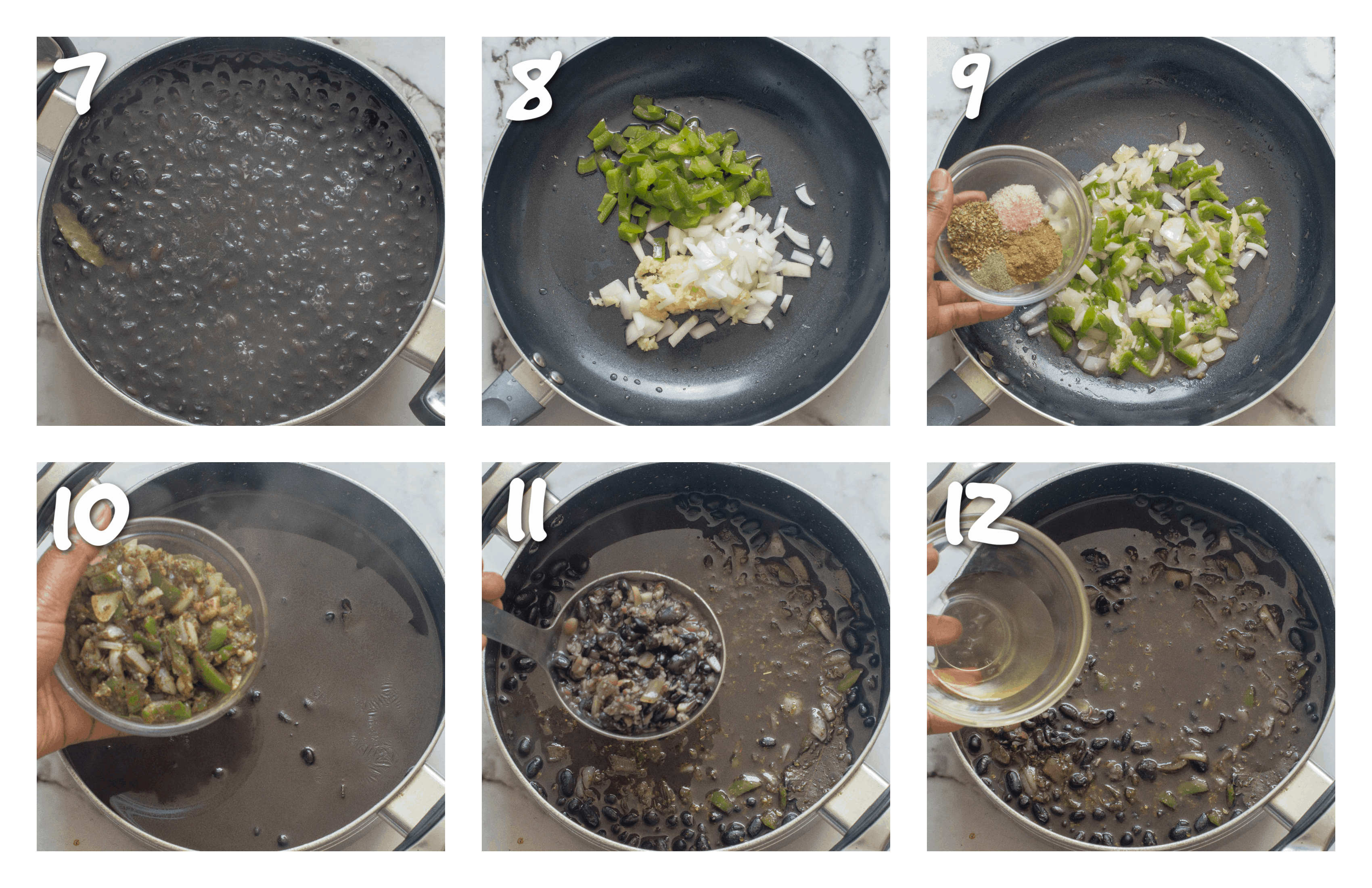 steps7-12 making the sofrito and cooking the black beans