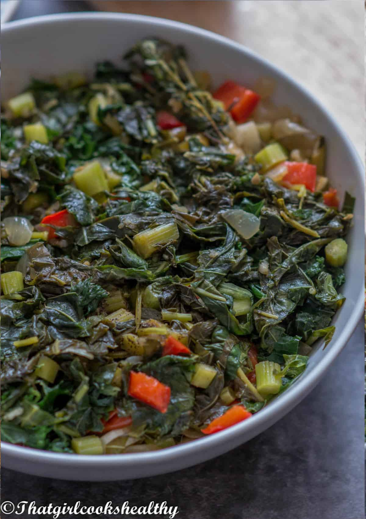 close up of the callaloo in a bowl