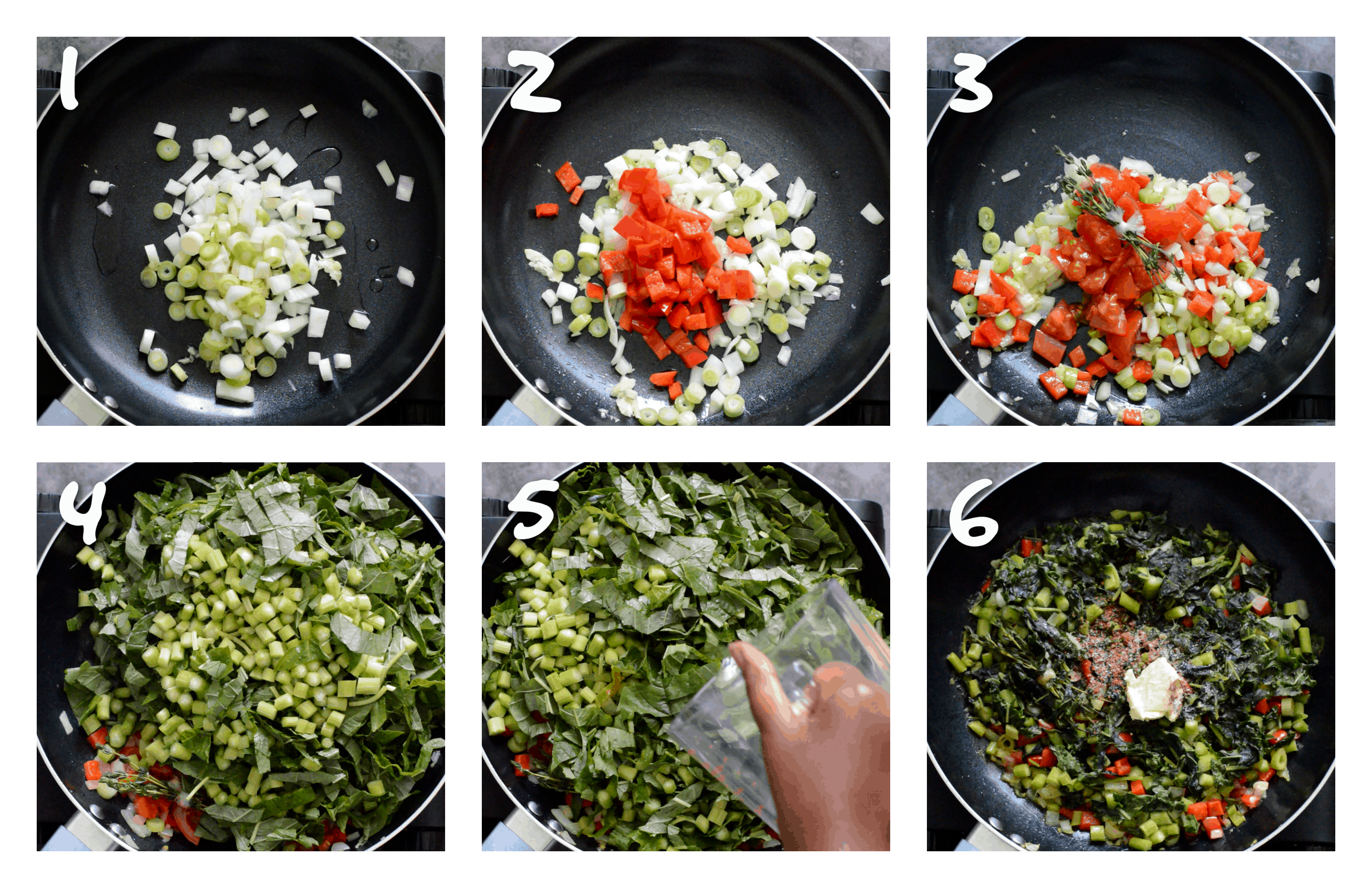 steps1-6 cooking the callaloo