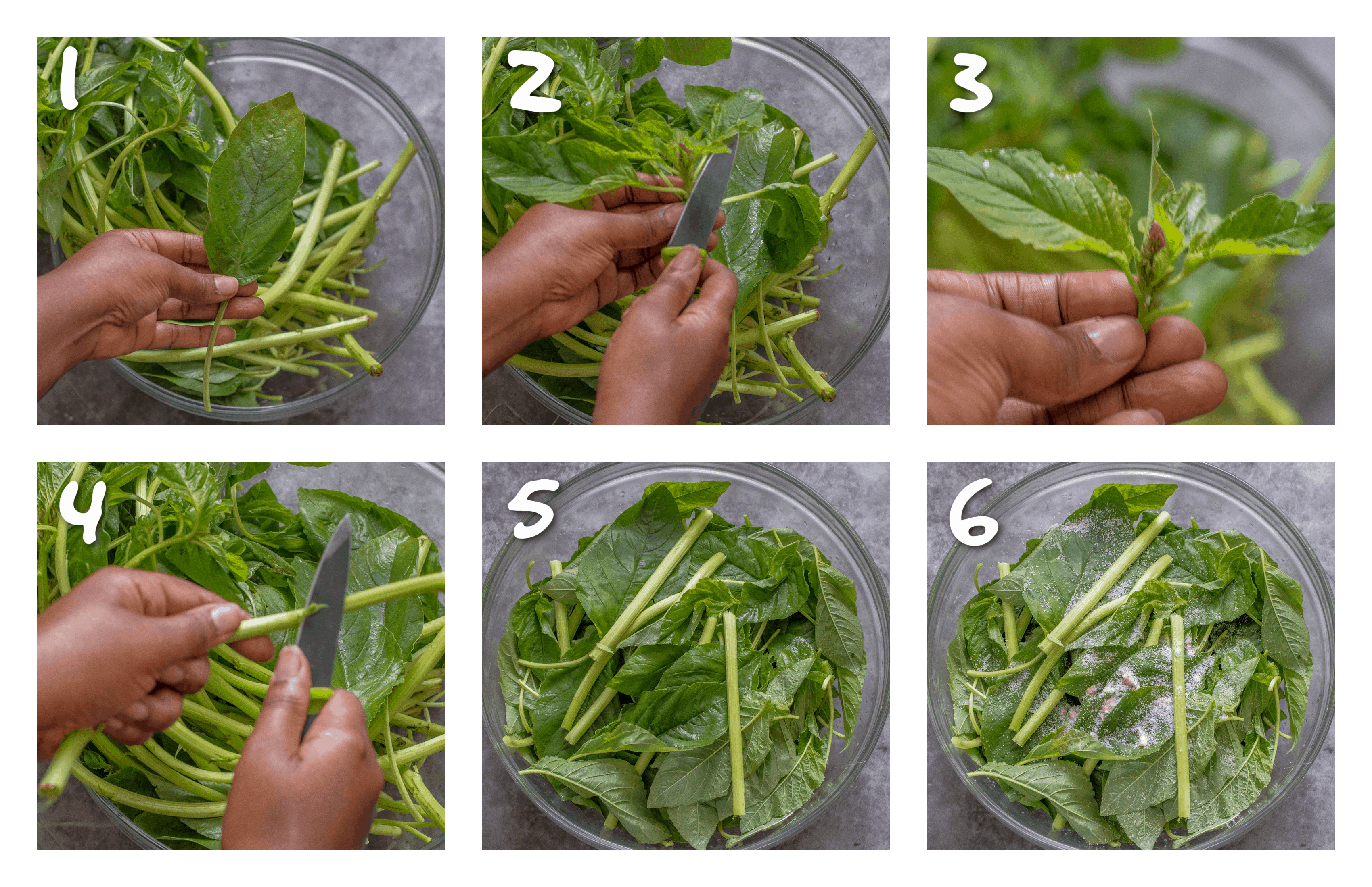 steps1-6 cutting and peeling the callaloo
