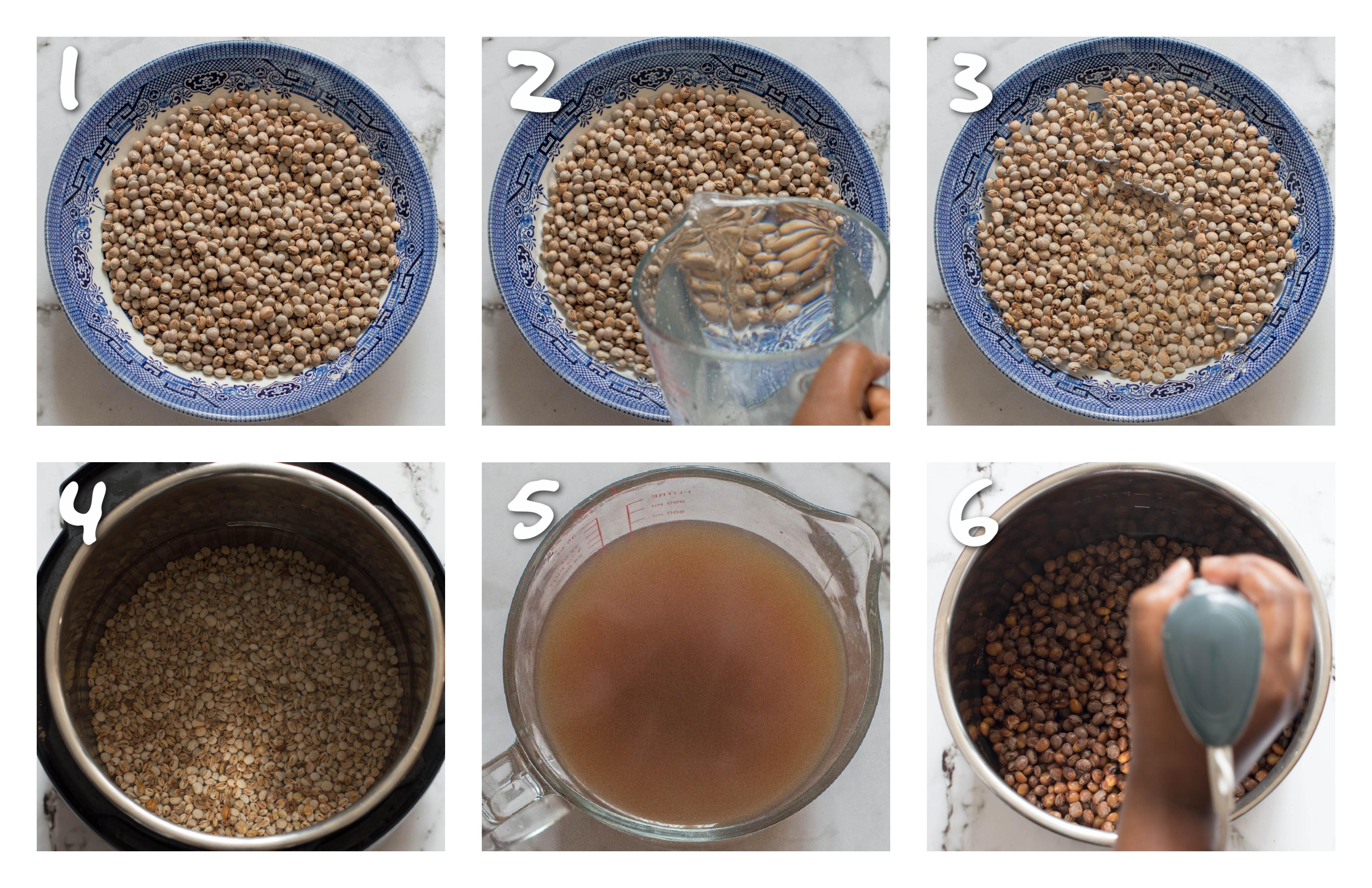 steps1-6 soaking the gungo peas and mashing them